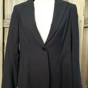 Theory Womens Black Wool Pocket Long Sleeve Jacket